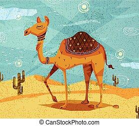 Pet animal Camel on desert background