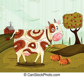 Pet animal Cow on jungle forest background