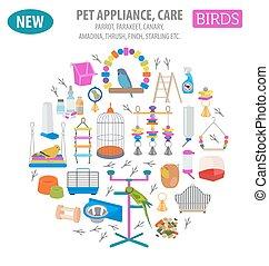 Pet appliance icon set flat style isolated on white. Birds...