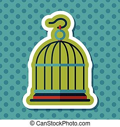 Pet bird cage flat icon with long shadow