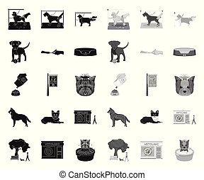 Pet black. mono icons in set collection for design. Care and education vector symbol stock web illustration.