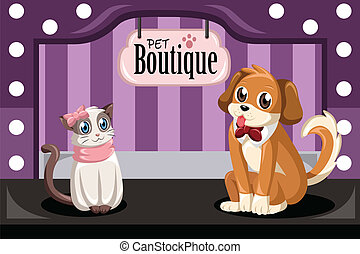 Pet boutique - A vector illustration of pet boutique