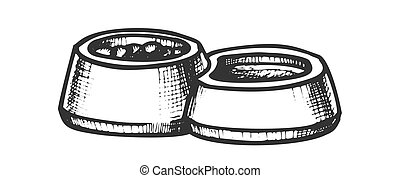 Pet Bowl With Food And Water Monochrome Vector