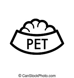 Pet bowl with food simple vector icon. Black and white illustration of dog and cat bowl. Outline linear icon.