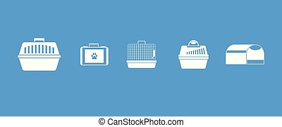 Pet cage icon blue set vector