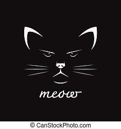 pet., cara, fondo., vector, diseño, animal., gato, negro
