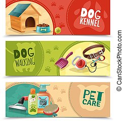 Pet Care 3 Horizontal Banners Set