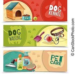 Pet Care 3 Horizontal Banners Set