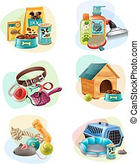 Affordable pet care service concept 6 colorful icons collection with dry dog food and treats isolated vector illustration