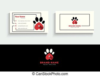 Pet care, dog paw and animal hospital vector logo and business card design