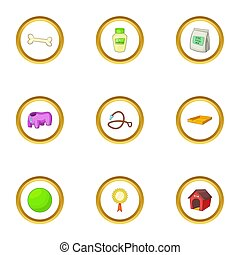 Pet care icons set, cartoon style