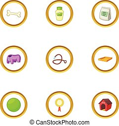 Pet care icons set, cartoon style