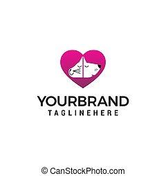 pet care logo design concept template vector