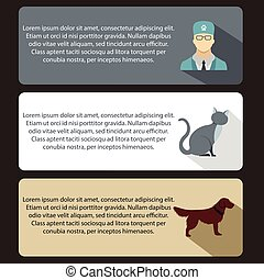 Pet care vet clinic banners set, flat style