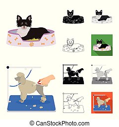 Pet cartoon, black, flat, monochrome, outline icons in set collection for design. Care and education vector symbol stock web illustration.