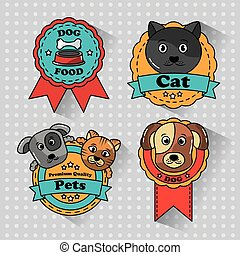 pet cat and dog medal badges icons