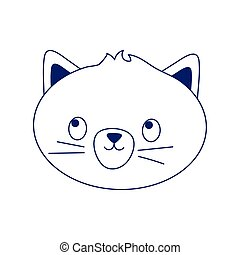 pet cat face feline cartoon isolated icon on white background