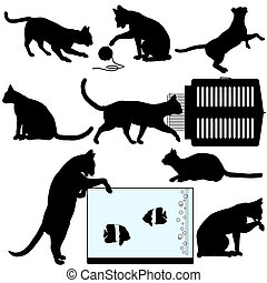 Cat symbol silhouettes, a set of assorted cat poses and related objects: pet carrier; aquarium; yarn ball.