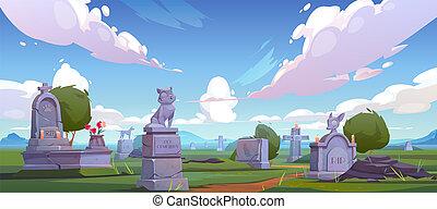 Pet cemetery, animal graveyard with tombstones