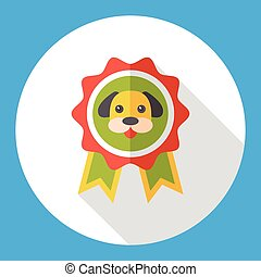pet champion medal flat icon
