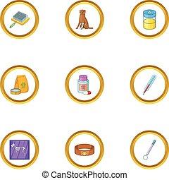 Pet clinic icons set, cartoon style