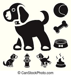 Pet dog black icons in set collection for design. Caring for the puppy vector symbol stock web illustration.
