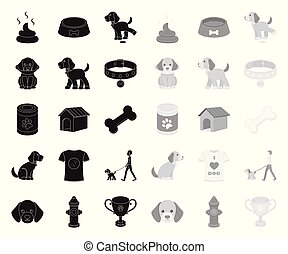 Pet dog black. mono icons in set collection for design. Caring for the puppy vector symbol stock web illustration.