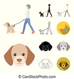 Pet dog cartoon, black, flat, monochrome, outline icons in set collection for design. Caring for the puppy vector symbol stock web illustration.