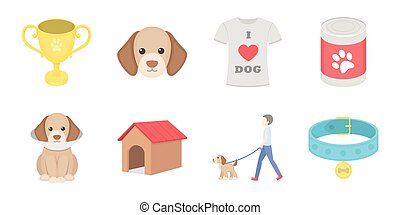 Pet dog icons in set collection for design. Caring for the puppy vector symbol stock web illustration.