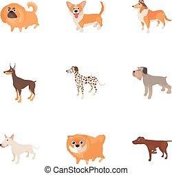 Pet dog icons set, cartoon style