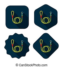 Pet dog lead flat icon with long shadow, eps10