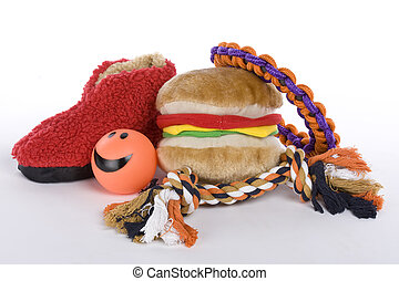 pet dog toys on white background
