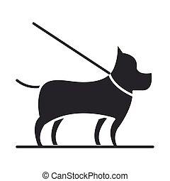 pet dog with leash silhouette icon design