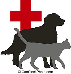 pet - Vector illustration - pet: dog and cat and red cross...