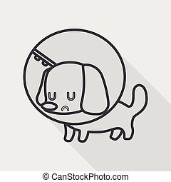 Pet Elizabethan collar flat icon with long shadow, eps10