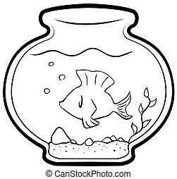 Pet Fish Cartoon Line Drawing