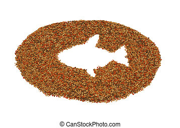 Pet Fish Food - A pile of pet fish food on a white...