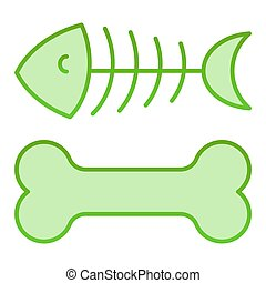 Pet food flat icon. Dog bone and fish skeleton green icons in trendy flat style. Animal food gradient style design, designed for web and app. Eps 10.