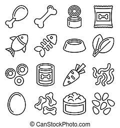 Pet Food Icons Set on White Background. Line Style Vector illustration