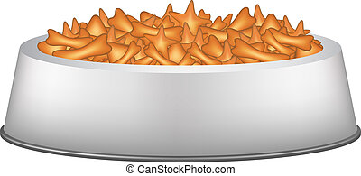 Pet food in silver bowl on white background