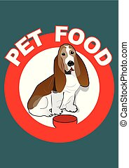 Pet food red circle label with basset hound sitting by his bowl. Dog food banner