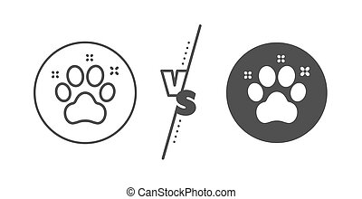Pet friendly line icon. Dog paw sign. Hotel service. Vector...