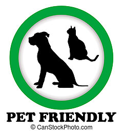 PET FRIENDLY sign with cat and dog silhouettes