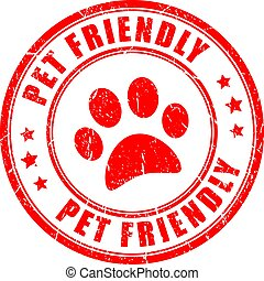 Pet friendly stamp - Pet friendly red stamp