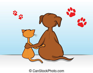 Pet Friends - Dog and Cat Sitting with Arms Around Each...