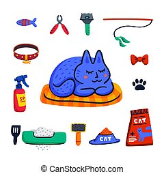 Pet grooming concept. Cute sleeping cat and Set of Cats accessories. Pet shop stuff, care, grooming, hygiene, health. Flat style vector illustration.