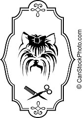 Pet grooming logo with Yorkshire terrier dog, hairbrush and...