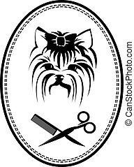 Pet grooming logo with Yorkshire terrier dog, hairbrush and scissors, doggy sign for pet salon or store icon