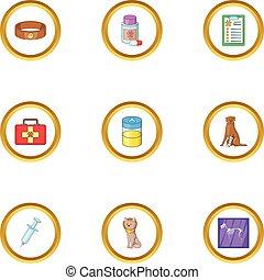 Pet health icons set, cartoon style