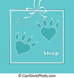 pet heart logo, dog paw logo, zoo shop